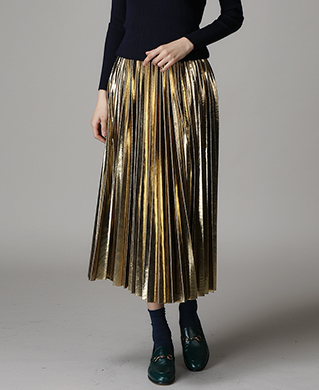 [WOMEN] Metallic Pleats Skirt