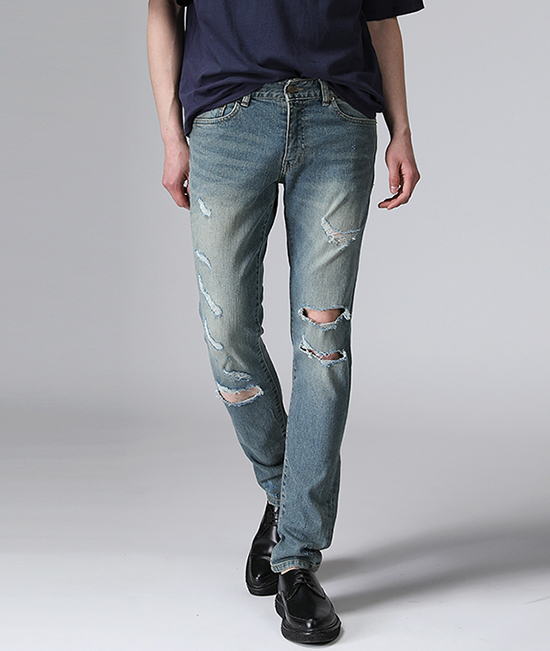 SLP Blue Skinny Distloid Jeans <br> ISKO Fabric