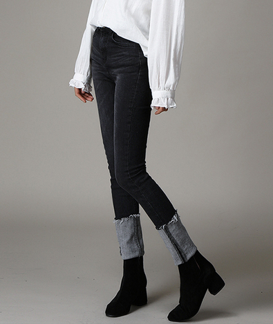[WOMEN] Over roll up denim pants